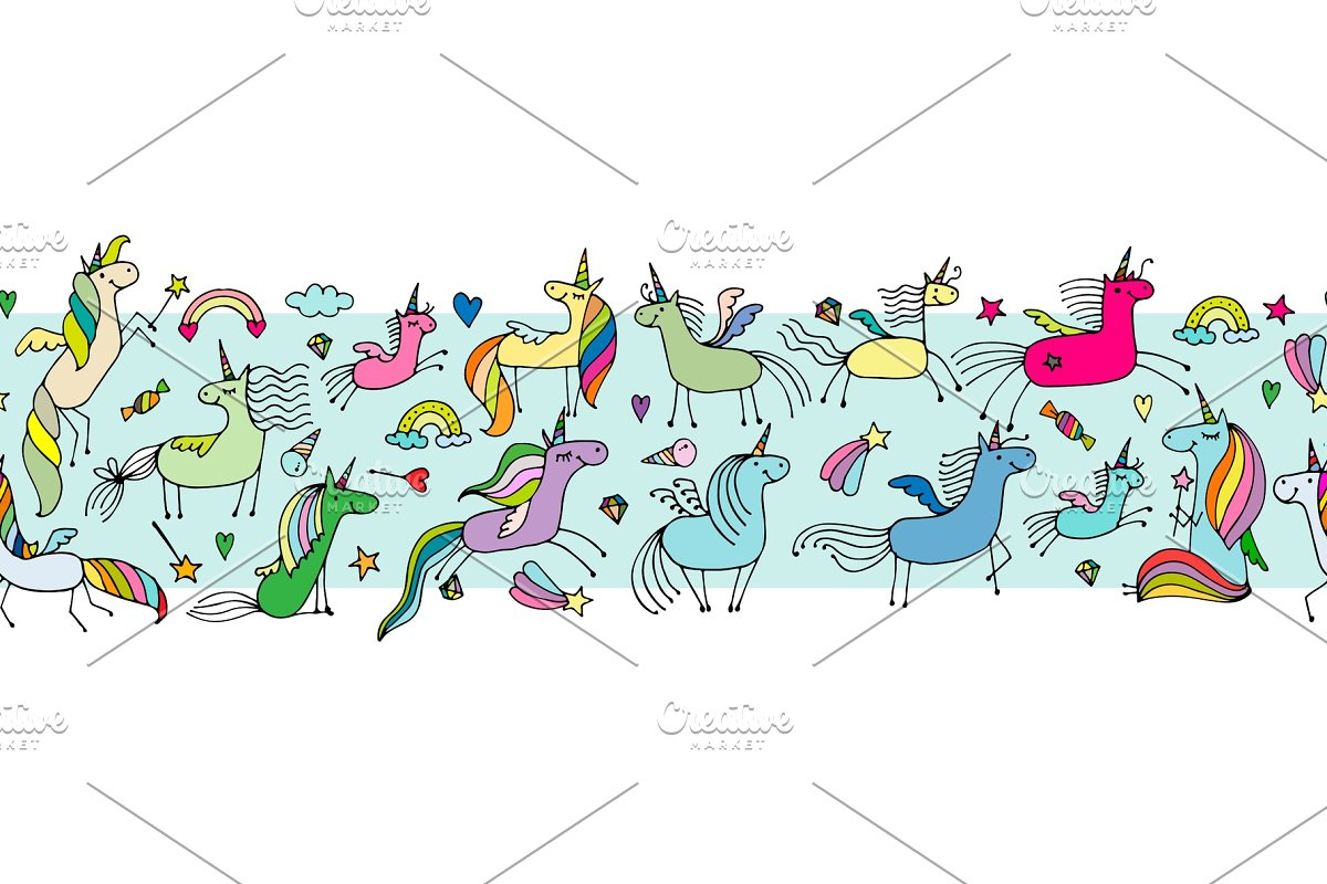 Magic unicorns, seamless pattern for