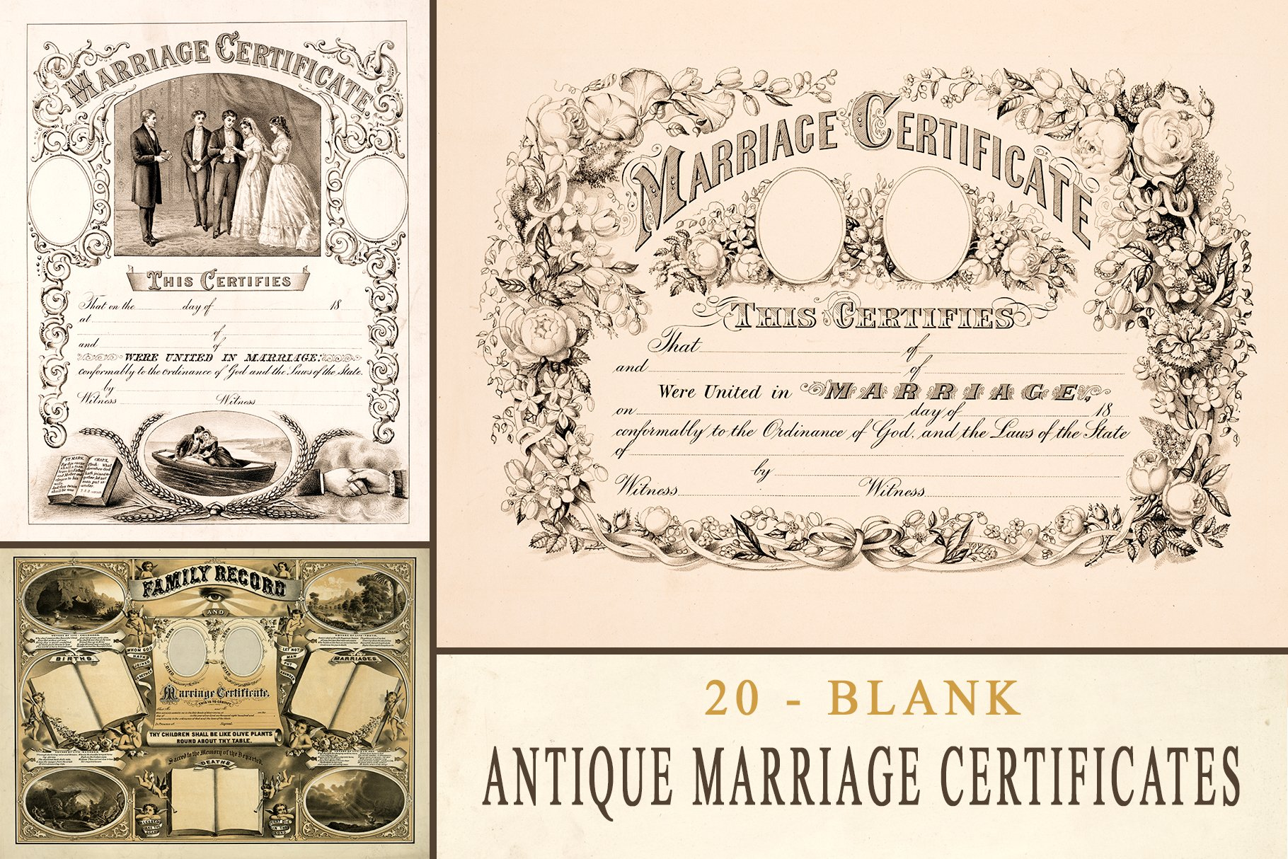 Antique Marriage Certificates -Blank ~ Textures ~ Creative ...