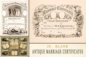 Antique Marriage Certificates -Blank