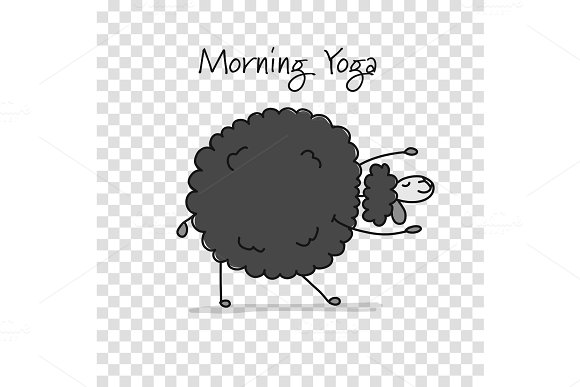 Funny sheep doing yoga, sketch for
