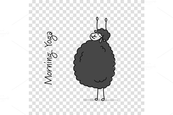 Funny sheep doing yoga, sketch for in Illustrations