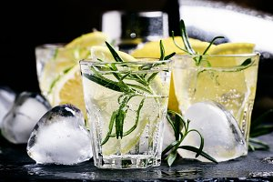 Refreshing lemon drink with rosemary