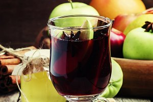 Hot mulled wine with apple and cinna