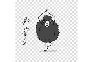Funny sheep doing yoga, sketch for
