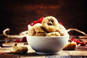 Dried figs and sweet cherry, vintage