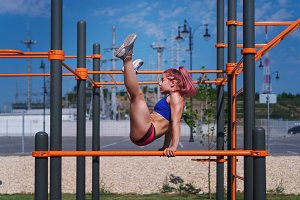 Girl on the street workout