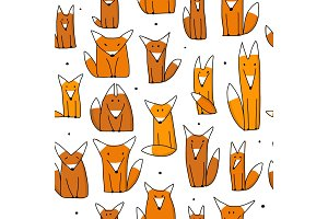 Funny foxes, seamless pattern for