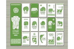 Ethnic style cards with elephants