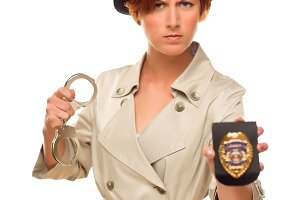 Female Detective With Handcuffs and