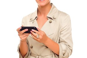 Smiling Young Woman Holding Smart Ce