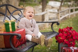 Young Toddler Child Sitting on Bench