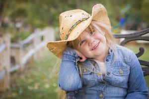 Cute Young Girl Wearing Cowboy Hat P