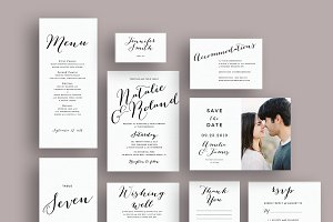 Typography script wedding invite set