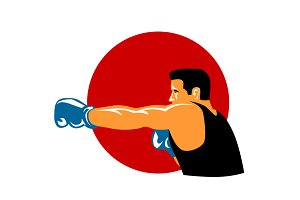 Boxer Jabbing Side Retro