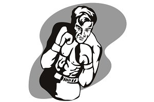 Boxer Fighting Stance Retro
