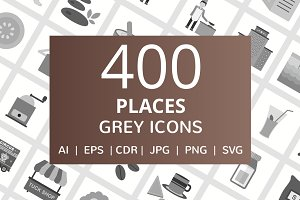 400 Places Grey Icons