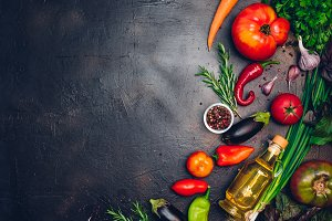 Raw organic vegetables with fresh in