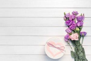 Beautiful purple eustoma flowers and