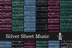 Silver Sheet Music Backgrounds