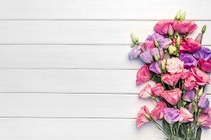 Beautiful bouquet of eustoma flowers