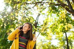 A beautiful happy cheerful brown-hai