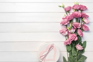 Beautiful pink eustoma flowers and h