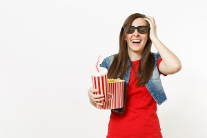 Young laughing woman in 3d glasses w