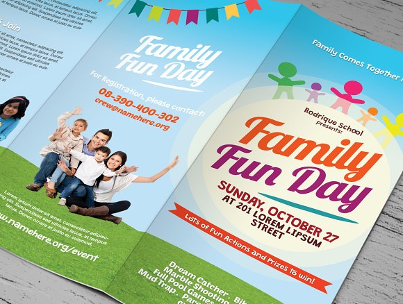 Family Fun Day Trifold Brochures Brochure Templates Creative Market