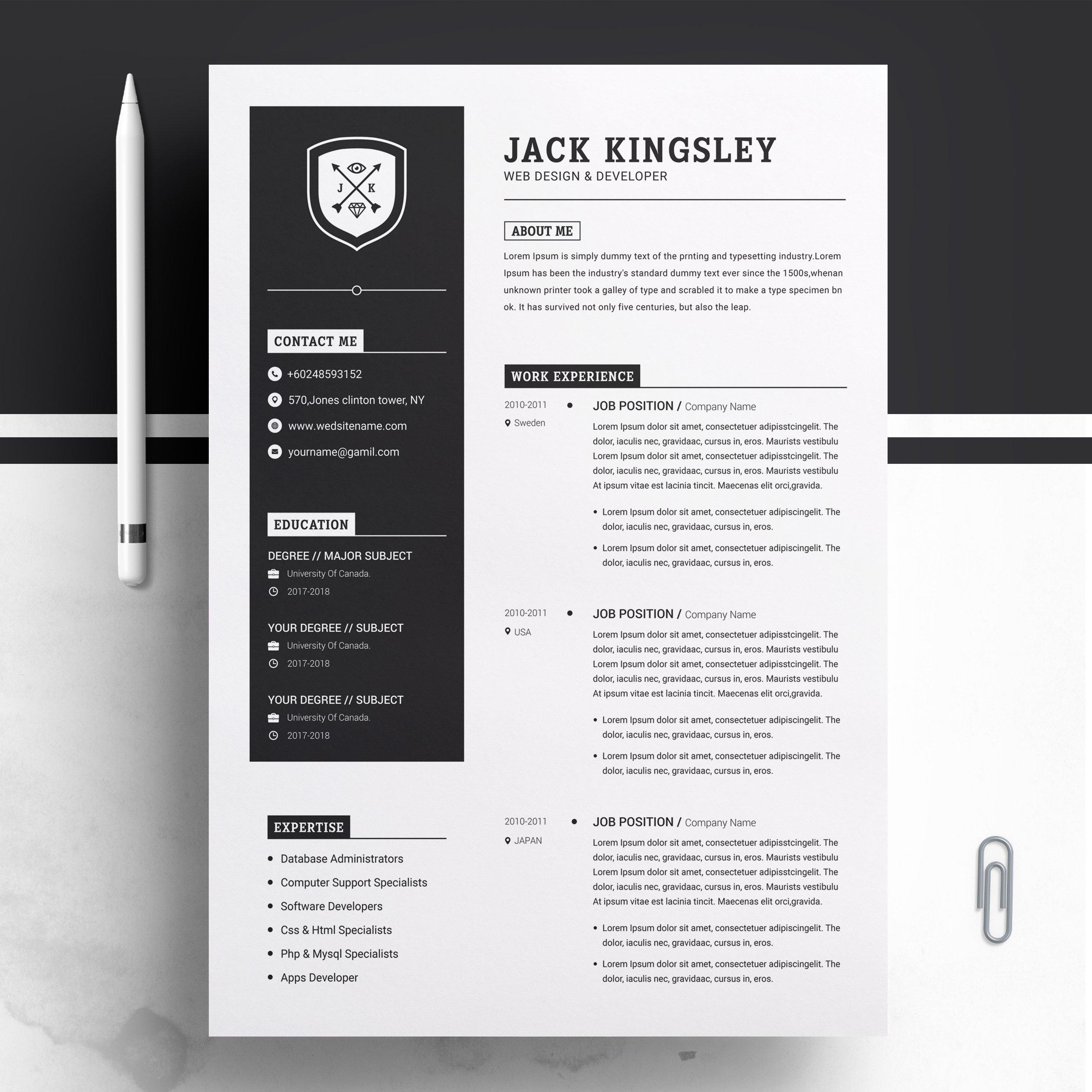 Minimalist Resume Cv Template Creative Illustrator Templates