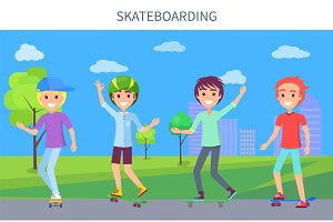 Skateboarding Poster and Boys Vector