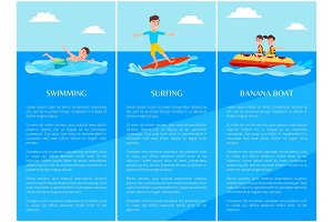 Swimming Surfing Collection Vector