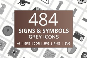 484 Signs & Symbols Grey Icons