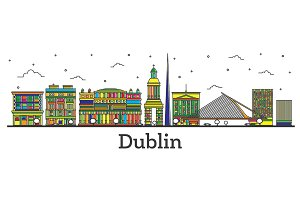 Outline Dublin Ireland City Skyline