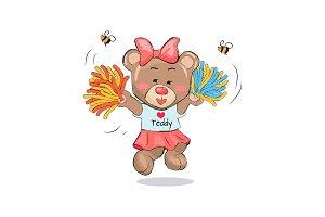Lovely Teddy Girl in Cheerleading