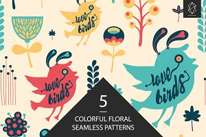 Pattern set with birds and animals