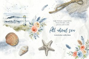 All about sea - watercolor clipart