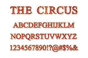 Vector of vintage carnival font set
