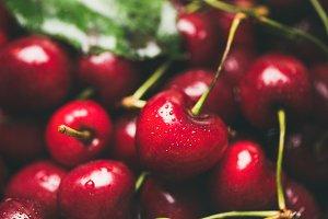Fresh sweet cherry texture