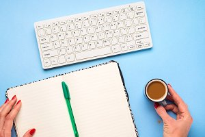 Keyboard, open notebook and pen. Wri