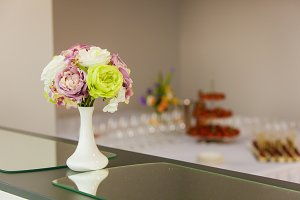 flowers in a vase for an event