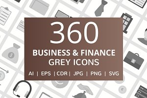 360 Business & Finance Grey Icons