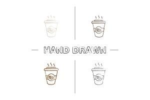 Coffee to go hand drawn icons set
