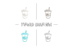Iced coffee hand drawn icons set