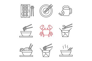 Chinese food linear icons set
