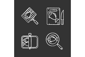 Fish preparation chalk icons set