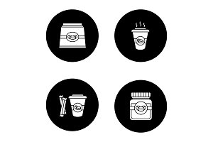 Coffee glyph icons set