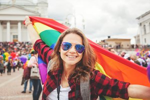 Happy woman on LGBT pride