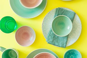 Selection of colorful tableware on