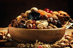 Healthy food: nuts and dried fruit,