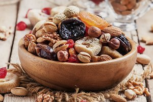 Nuts and dried fruit mix, healthy an